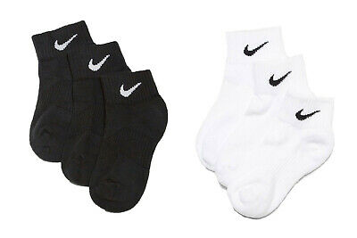 Nike Boys Kids Socks 3 Pairs Quarter Ankle Size U.K 10.5 -12 White or Black New