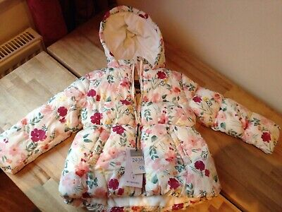Girls Padded Jacket Pink Flower Patterned Hood 2-3 years old BNWT NEW