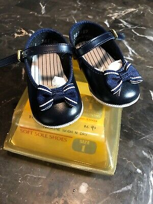 Vintage Baby Girl Size 1 Fancy Shoes Navy Blue New! Sears Store 1980's