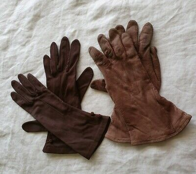 2 Sets of Ladies Brown Gloves:  Dent's Leather Gloves and Fabric  Gloves Size M