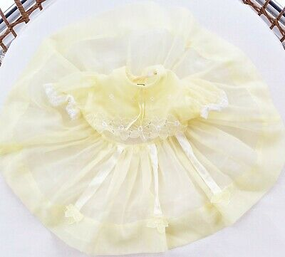 Vintage Sheer Baby Girl Toddler Party Dress Pale Yellow Lace Slip