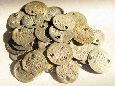 NICE VARIETY OF ISLAMIC/TURKISH SILVER MIX 50 pcs. COINS in LOT # 710