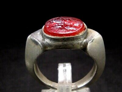 Outstanding Roman Style Glass Intaglio Gem Ring, Victory!!!