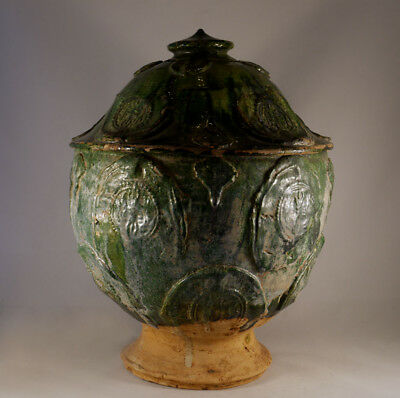 Superb Large Chinese Yuan / Ming Dynasty Green Glazed Lided Jar with decorations