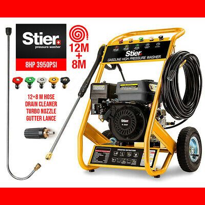 STIER Petrol High Pressure Washer Gun Water Cleaner 8HP 3950PSI Gurney20M HoseEU