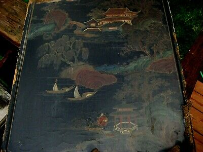 "Painted Opium Bed Panel, Chinese 16"" X 20"" Beautiful, Worn, Old, Damaged Edges"