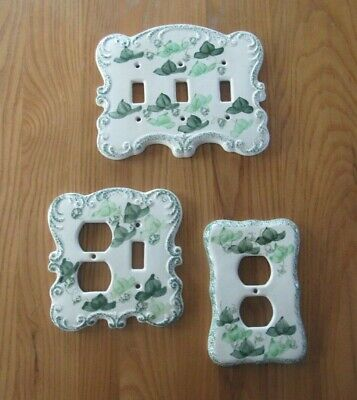 Hand-painted Ivy Leaves 3 Piece Set Light Switch Wall Plates By Levine Gifts