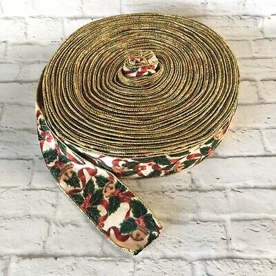 """Wire Edged Ribbon 2 1/2"""" Wide Christmas Wreaths Gold Holly Bells Large Roll Gree"""