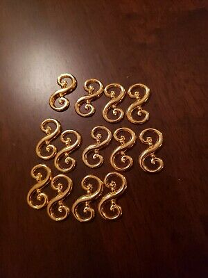 Vintage Lot of 13 Gold Tone Swirl Abstract Art Metal Decor Pieces