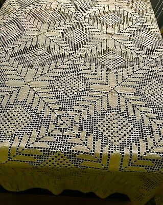 "Old Vintage Ivory Crochet Lace Tablecloth 60""SQ Beautiful Geometrical Design"