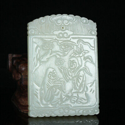 Chinese Exquisite Hand carved Hetian jade pendant
