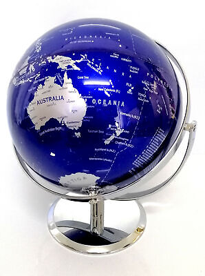 EDUCATIONAL HIGH QUALITY BLUE WORLD GLOBE DOUBLE AXEL WITH CHROME BASE HOME 25cm