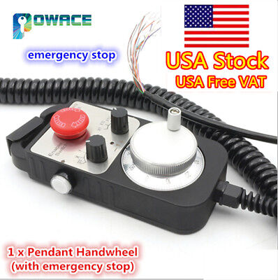 【USA】Universal 4 Axis CNC Handwheel MPG Pendant w/ E-Stop For CNC Router Machine