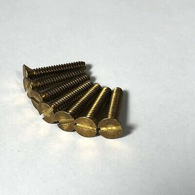 """6-32 x 3/4"""" Solid Brass Finish Switch Plate Screws Flat Head Slotted Quantity 56"""