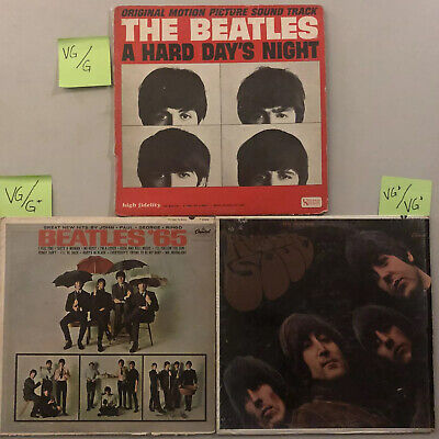 The Beatles - Lot Of 3 Vinyl Records Rubber Soul, Hard Day's Night, 65