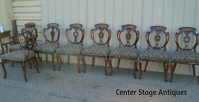 59489  SET OF 8 CUSTOM Inlaid   DINING ROOM CHAIRS 2 ARMCHAIRS 6 SIDE CHAIRS