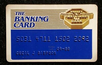 The Banking Card Valley National Bank  Arizona exp 1988 ♡Free Shipping♡cc816♡