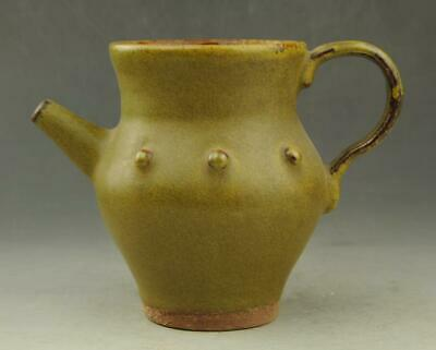 Chinese old hand-carved fambe porcelain yellow glaze Drum nails teapot /20 d01
