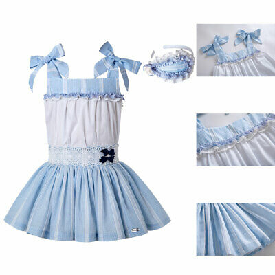 Kids Girls Spanish Striped Clothing Outfits Wedding Party Shirt Top Skirt Blue