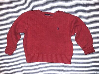Ralph Lauren Boys Polo Red Knitted Sweater 3T Navy Pony SELLING TONS!!!