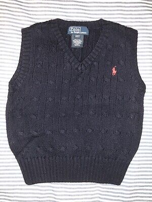 Ralph Lauren Boys Polo Navy Knitted Sweater 2T Red Pony SELLING TONS!!!