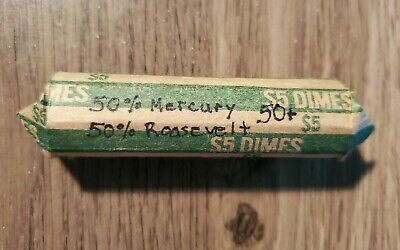 Over 1 Full Roll(53)1919-1964 Mercury&Roosevelt Silver Dimes.good Mix Of Dates.