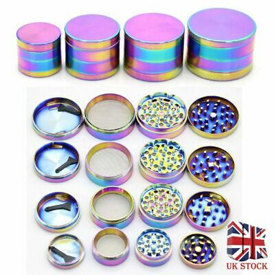 Gradient Shiny Rainbow Alloy Tobacco Metal Grinder 4 Part 40mm 50mm 55mm
