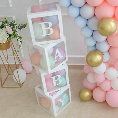 4PCS BoyGirl Baby Shower Party Decor Transparent White Boxes Balloons & Letters