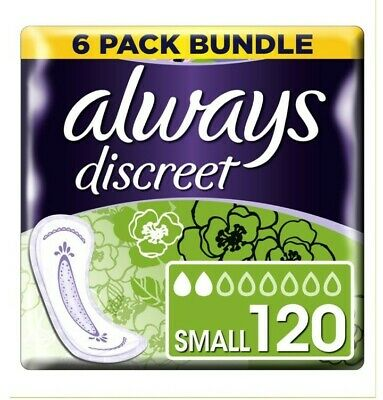 Always Discreet Small Pads - 120 pads( 6pack bundle)