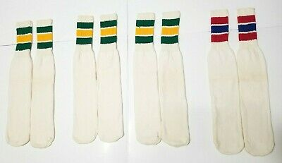 Vintage Orlon Tube Sock Lot of 4 Pairs Green Yellow Red Blue Striped Deadstock