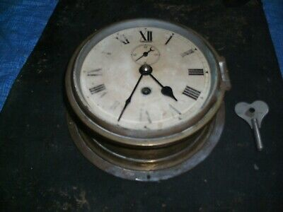 Large Vintage Brass Ships Clock Working Nautical Maritime Marine Boat