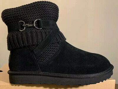 UGG PURL Suede & Knit Strap Woman's Boots 1098080 BLACK New SIZE 7, AUTHENTIC