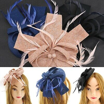 Pink/ Navy/ Black Feather Fascinator Hearwear Pillbox with Headband & Hair Clip