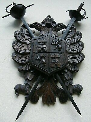 Large Black Forest Carved Wooden Gothic Coat Of Arms With Cross Swords Plaque