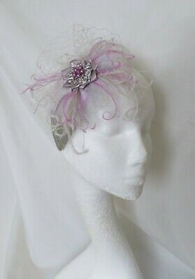 Lavender Lilac & Silver Grey Vintage Feather Veil Fascinator Wedding Ascot Races