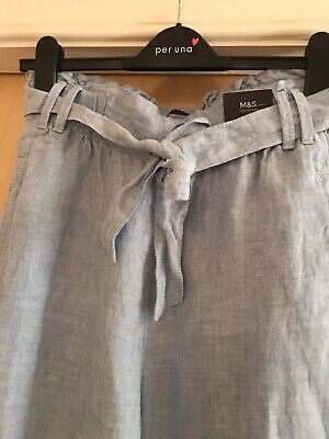 Marks & Spencer Pure Linen Pale Blue Wide Leg Trousers Size 8 BNWT