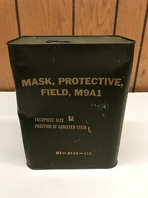 US Army M9A1 Field Protective Gas Mask Sealed Can Medium 1950's