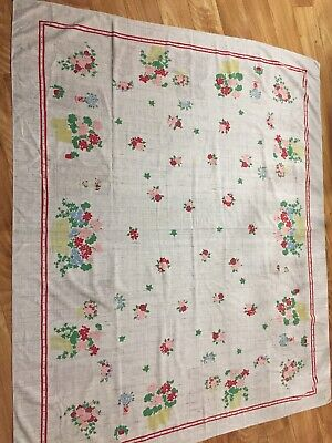 """Vintage tablecloth 1950's 50"""" X  58"""" Good Colors red, Blue, Green And Pink"""
