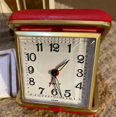 New In Box (unused) Red Equity Wind Up Travel Alarm Clock