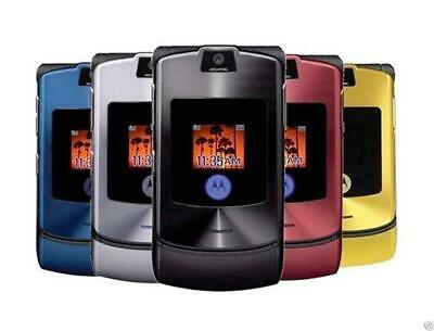 Motorola razr V3 telefono cellulare bluetooth GSM Mobile Cell Phone in 8 colori