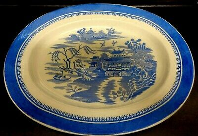 Antique Stone China Willow Pattern Plate Blue & White Transferware Collectible