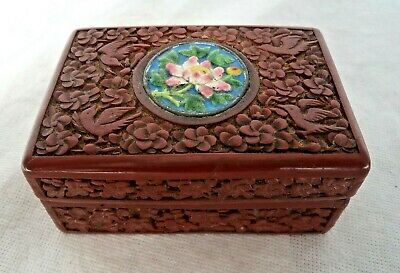 Chinese 19Th Century Qing Red Cinnabar & Enamel Box Birds & Foliage & Seal Mark