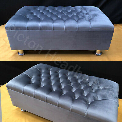 Luxury Chesterfield Footstool / coffee Table Bench Plush Velvet 2020 Fabric