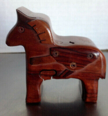 Carved Wood Horse Puzzle Box
