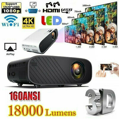 18000 Lumens Mini LED Projector Video 1080P HD WiFi 3D Theatre Home Cinema HDMI