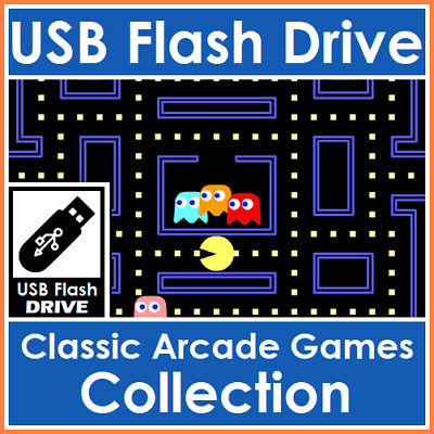 Classic Retro Arcade Games Collection PacMan, Space Invaders & More On USB Drive