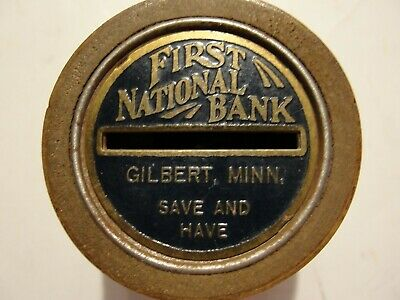 Vintage Metal Savings Bank***Barrel  Design Bank Is First Nat. Gilbert , Minn.