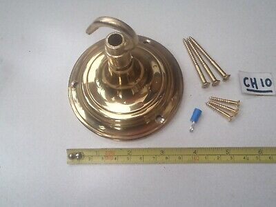 A RECLAIMED 9.7 cm Dia CAST BRASS CEILING HOOK / CHANDELIERS / LIGHTING (CH 10)