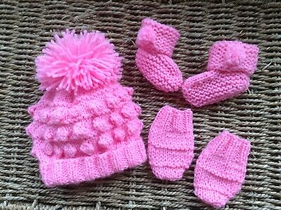 Brand New Hand Knit Hot Pink Newborn Baby Girl Bobble Pom Pom Hat Mitts And Boot