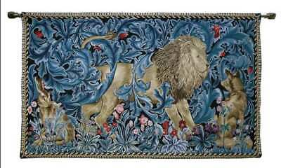 139 Cm X 87Cm William Morris Wall Hanging Tapestry Lion & The Forest By Signare